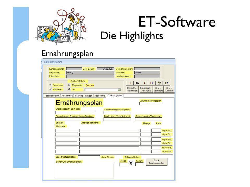 ET-Software Die Highlights Ernährungsplan