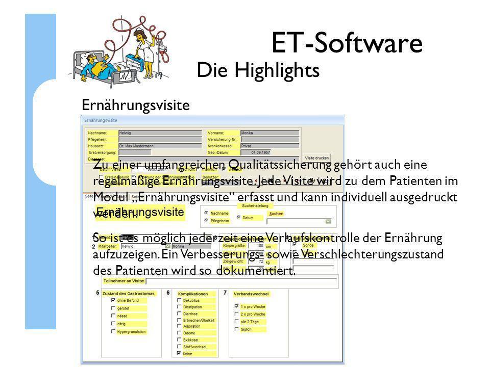ET-Software Die Highlights Ernährungsvisite Zu einer umfangreichen Qualitätssicherung gehört auch eine regelmäßige Ernährungsvisite. Jede Visite wird