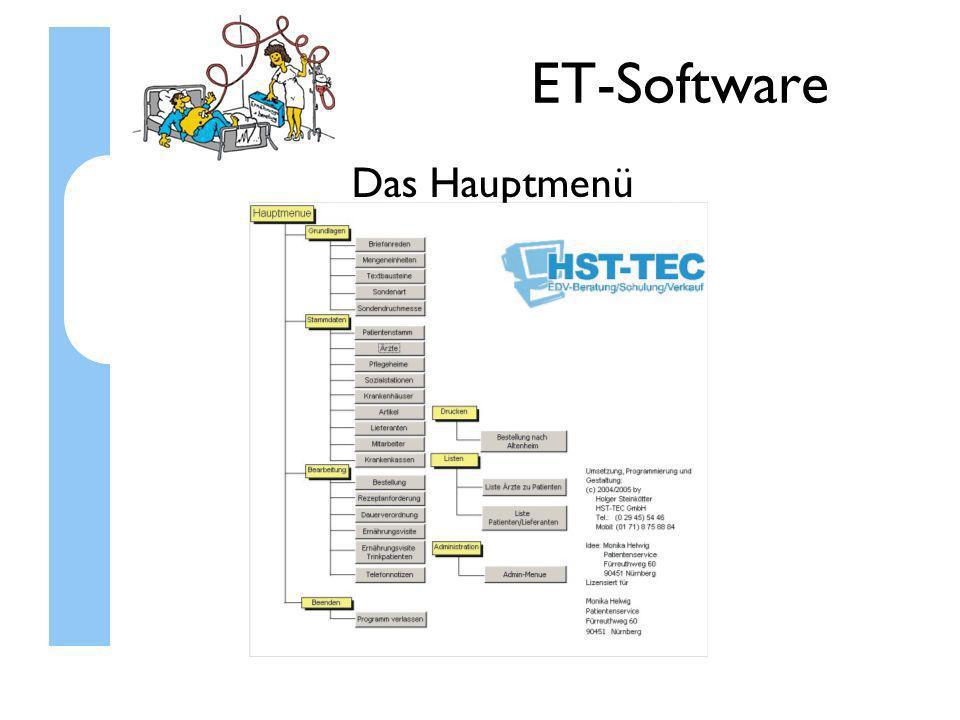ET-Software Die Funktionen Stammdatenverwaltung: Patienten Ärzte Krankenhäuser Artikel Lieferanten Pflegeheime Mitarbeiter