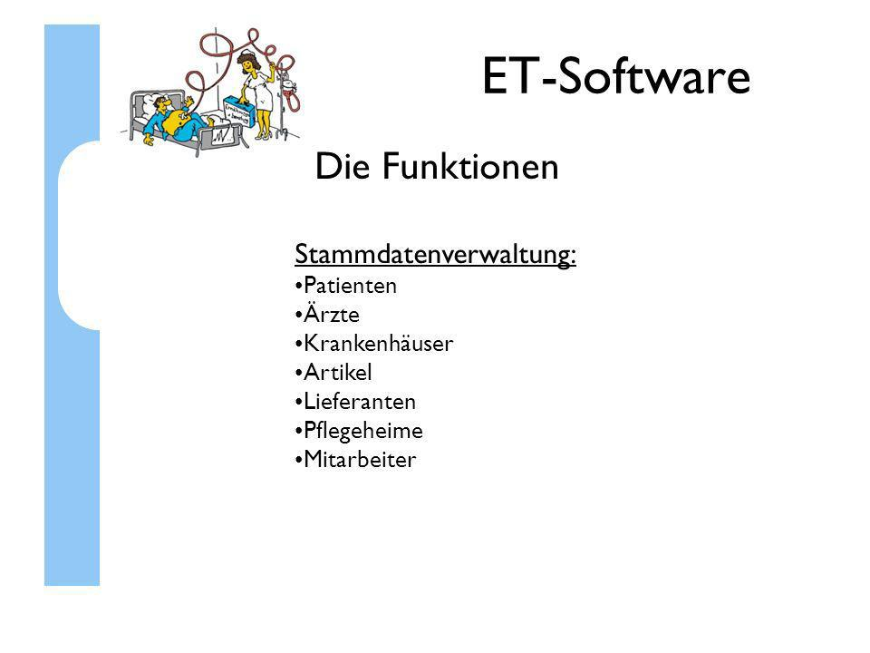ET-Software Die Funktionen Bearbeitungsprogramme Bestellerfassung Anforderung Rezepte Dauerverordnung Ernährungsvisite Telefonnotizen