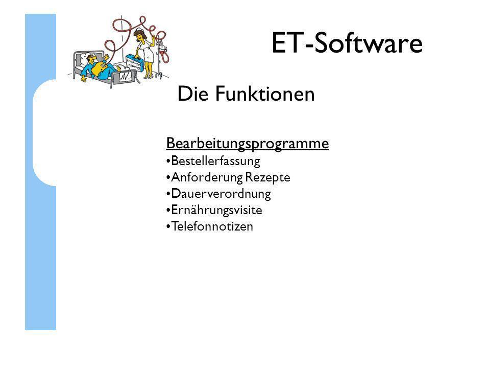 ET-Software Die Funktionen Sonstiges Mitarbeiterverwaltung Rechteverwaltung Zeiterfassung der Mitarbeiter uvm.