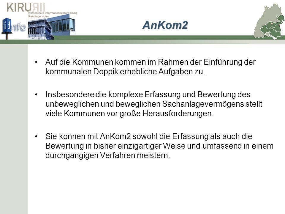 Stichtagsgenaue Bewertung Durch die mit modernsten Verfahren entwickelte Software AnKom2 können Sie Ihr kommunales Anlagevermögen inventarisieren, erfassen und bewerten.