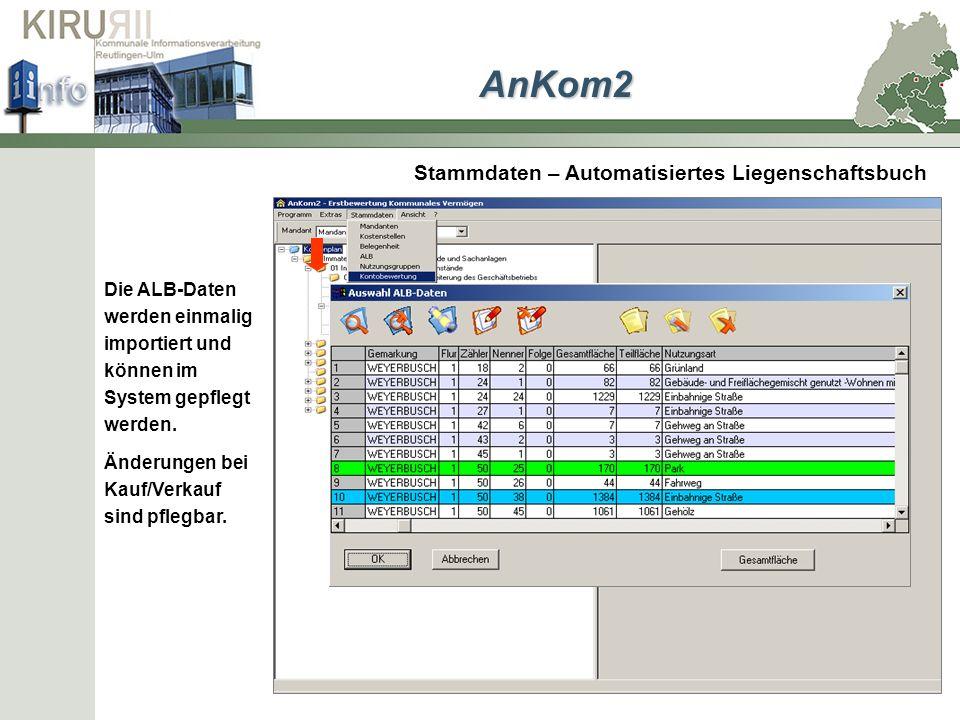 Stammdaten – Automatisiertes Liegenschaftsbuch Die ALB-Daten werden einmalig importiert und können im System gepflegt werden. Änderungen bei Kauf/Verk