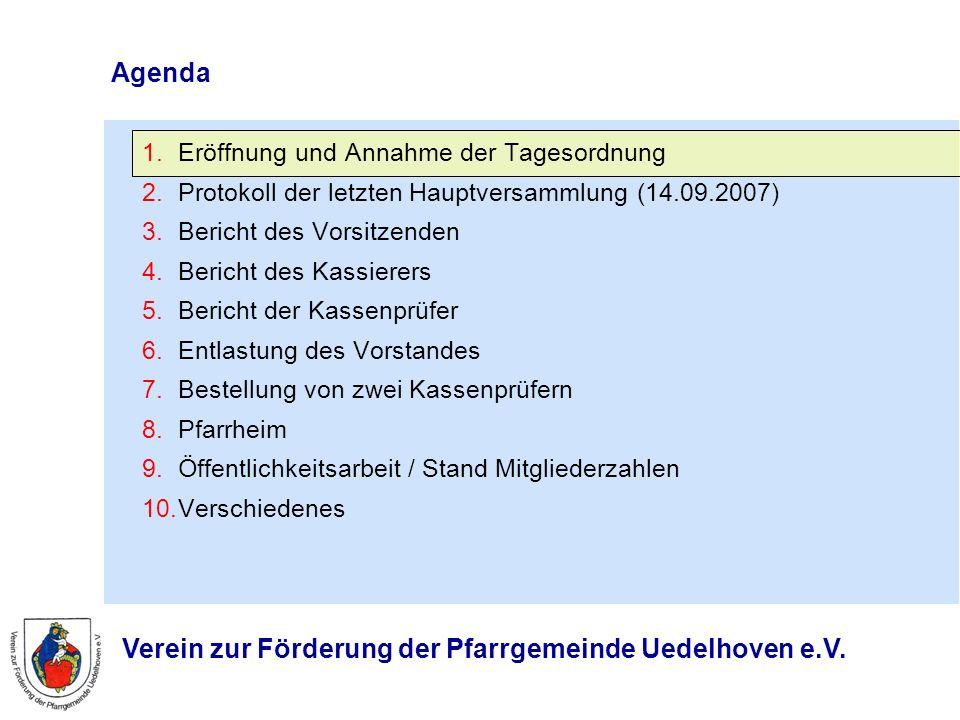 Agenda 1.Eröffnung und Annahme der Tagesordnung 2.Protokoll der letzten Hauptversammlung (14.09.2007) 3.Bericht des Vorsitzenden 4.Bericht des Kassier