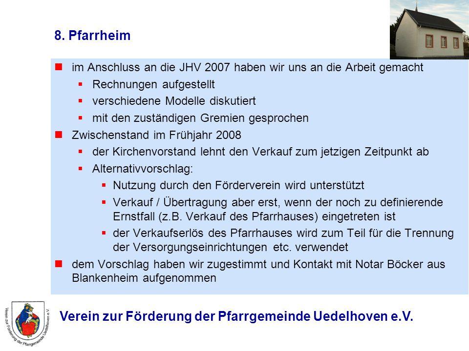 Verein zur Förderung der Pfarrgemeinde Uedelhoven e.V. 8. Pfarrheim im Anschluss an die JHV 2007 haben wir uns an die Arbeit gemacht Rechnungen aufges