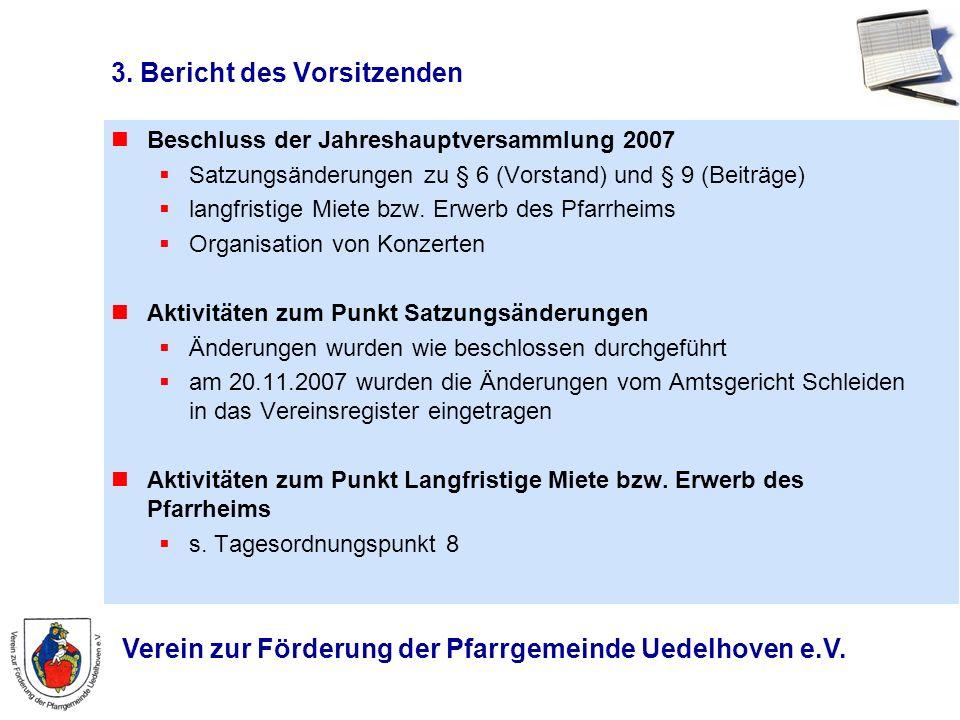 Verein zur Förderung der Pfarrgemeinde Uedelhoven e.V. 3. Bericht des Vorsitzenden Beschluss der Jahreshauptversammlung 2007 Satzungsänderungen zu § 6