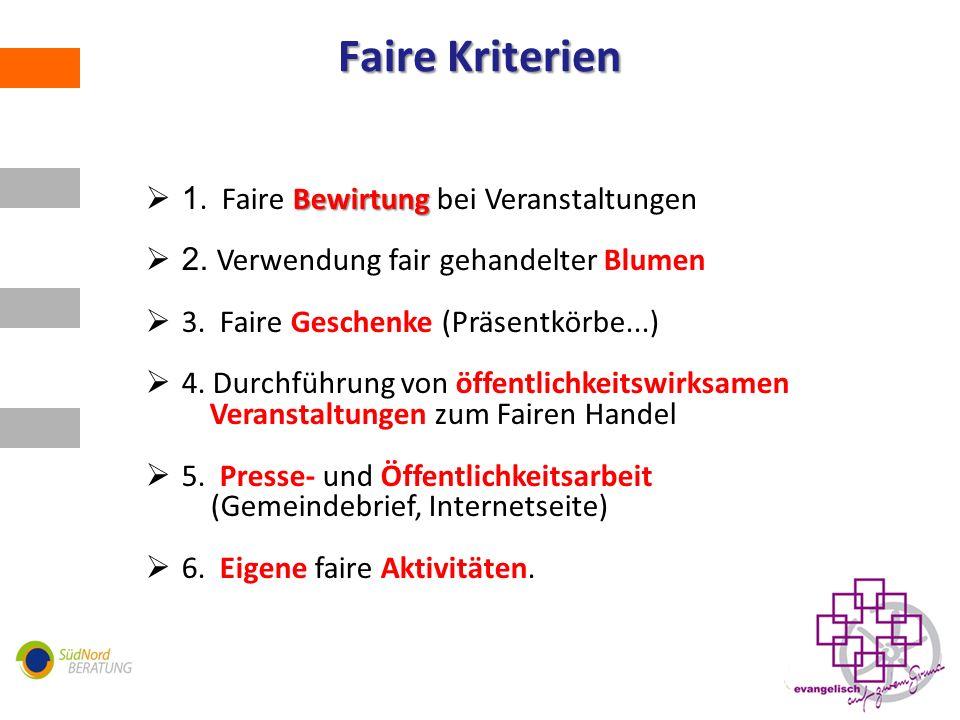 Faire Kriterien Bewirtung 1.Faire Bewirtung bei Veranstaltungen 2.