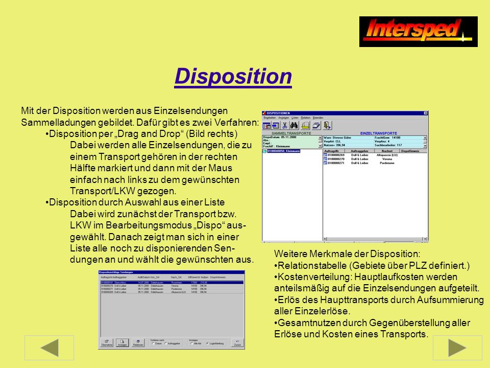 Disposition Mit der Disposition werden aus Einzelsendungen Sammelladungen gebildet. Dafür gibt es zwei Verfahren: Disposition per Drag and Drop (Bild