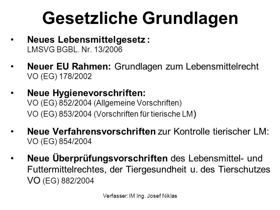 Verfasser: IM Ing. Josef Niklas Gesetzliche Grundlagen Neues Lebensmittelgesetz : LMSVG BGBL. Nr. 13/2006 Neuer EU Rahmen: Grundlagen zum Lebensmittel
