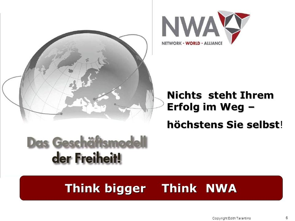 Copyright Edith Tarantino 6 Nichts steht Ihrem Erfolg im Weg – höchstens Sie selbst höchstens Sie selbst! Think bigger Think NWA