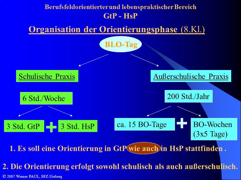 Berufsfeldorientierter und lebenspraktischer Bereich GtP - HsP Organisation der Orientierungsphase (8.Kl.) 1. Es soll eine Orientierung in GtP wie auc