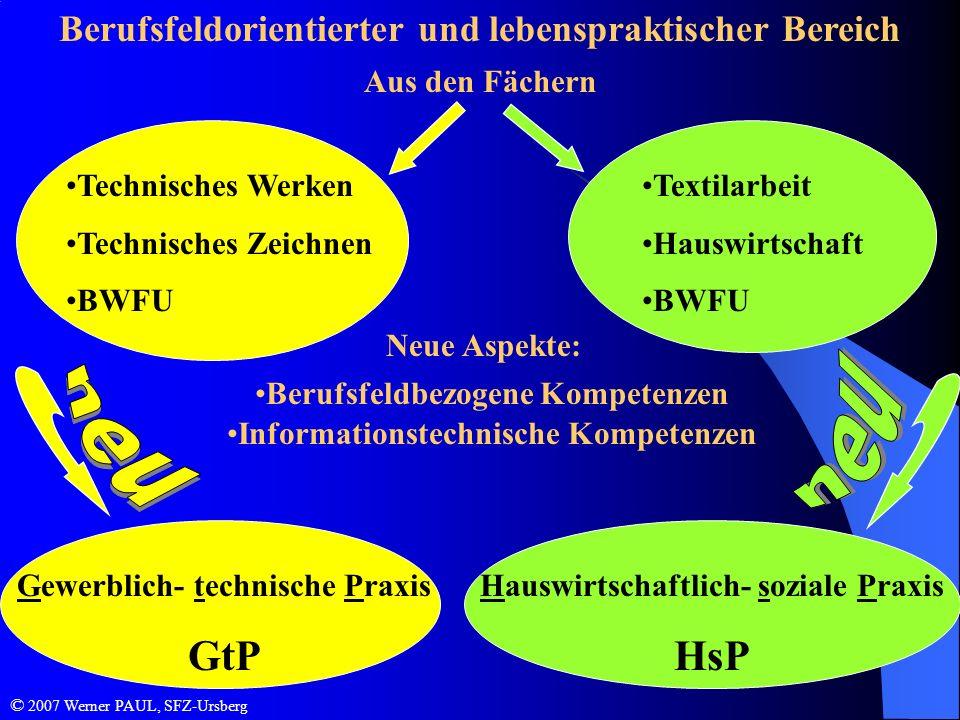 Berufsfeldorientierter und lebenspraktischer Bereich Aus den Fächern Technisches Werken Technisches Zeichnen BWFU Textilarbeit Hauswirtschaft BWFU Neu