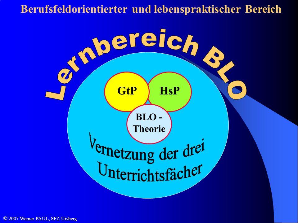 Berufsfeldorientierter und lebenspraktischer Bereich HsPGtP BLO - Theorie © 2007 Werner PAUL, SFZ-Ursberg