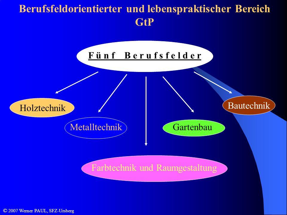 Berufsfeldorientierter und lebenspraktischer Bereich GtP F ü n f B e r u f s f e l d e r Holztechnik Metalltechnik Bautechnik Farbtechnik und Raumgest