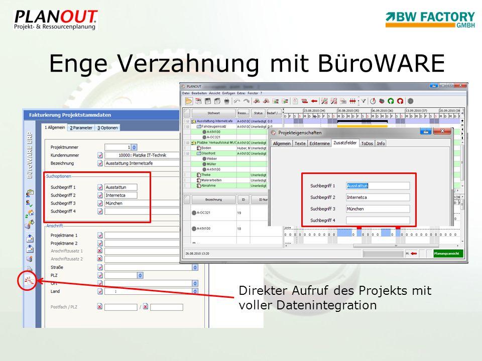 Enge Verzahnung mit BüroWARE Direkter Aufruf des Projekts mit voller Datenintegration