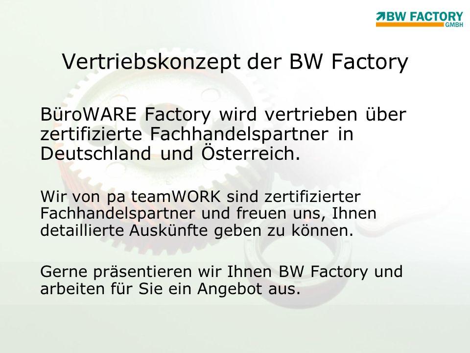 Vertriebskonzept der BW Factory BüroWARE Factory wird vertrieben über zertifizierte Fachhandelspartner in Deutschland und Österreich. Wir von pa teamW