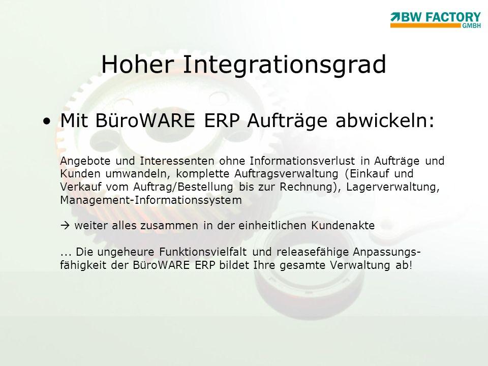 Hoher Integrationsgrad Mit BüroWARE ERP Aufträge abwickeln: Angebote und Interessenten ohne Informationsverlust in Aufträge und Kunden umwandeln, komp