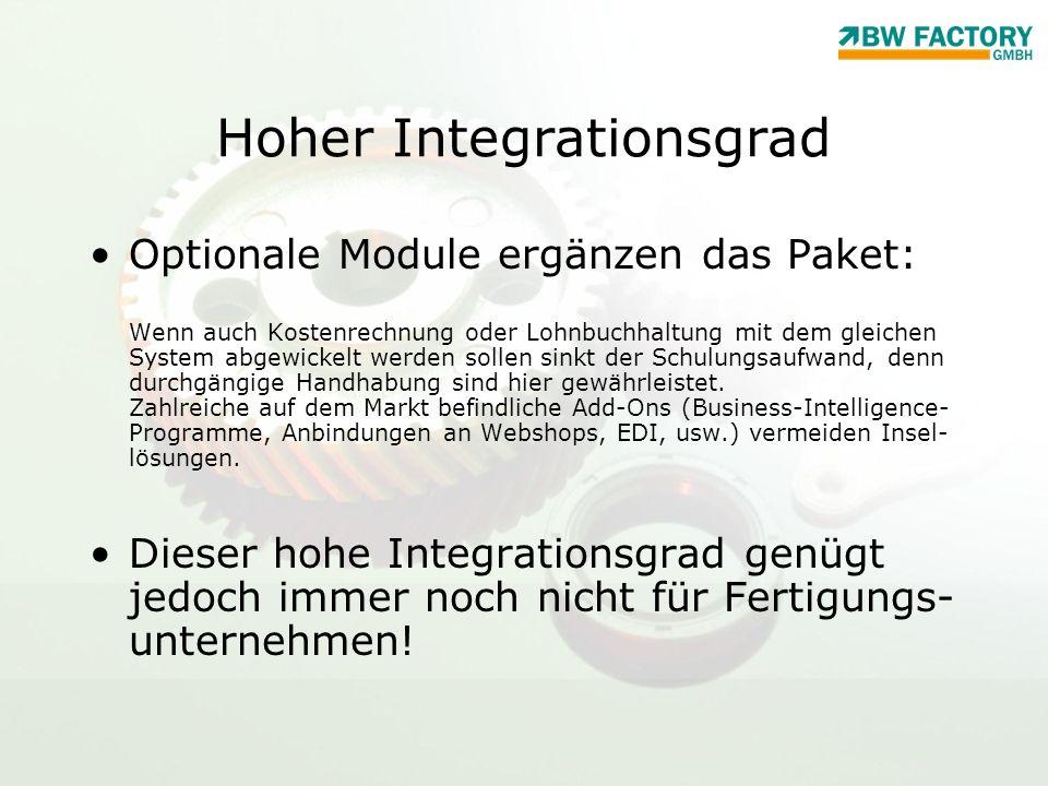 Hoher Integrationsgrad Optionale Module ergänzen das Paket: Wenn auch Kostenrechnung oder Lohnbuchhaltung mit dem gleichen System abgewickelt werden s