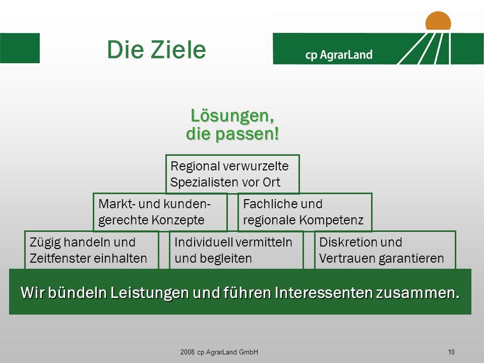 2008 cp AgrarLand GmbH10 Die Ziele Lösungen, die passen! Wir bündeln Leistungen und führen Interessenten zusammen. Individuell vermitteln und begleite