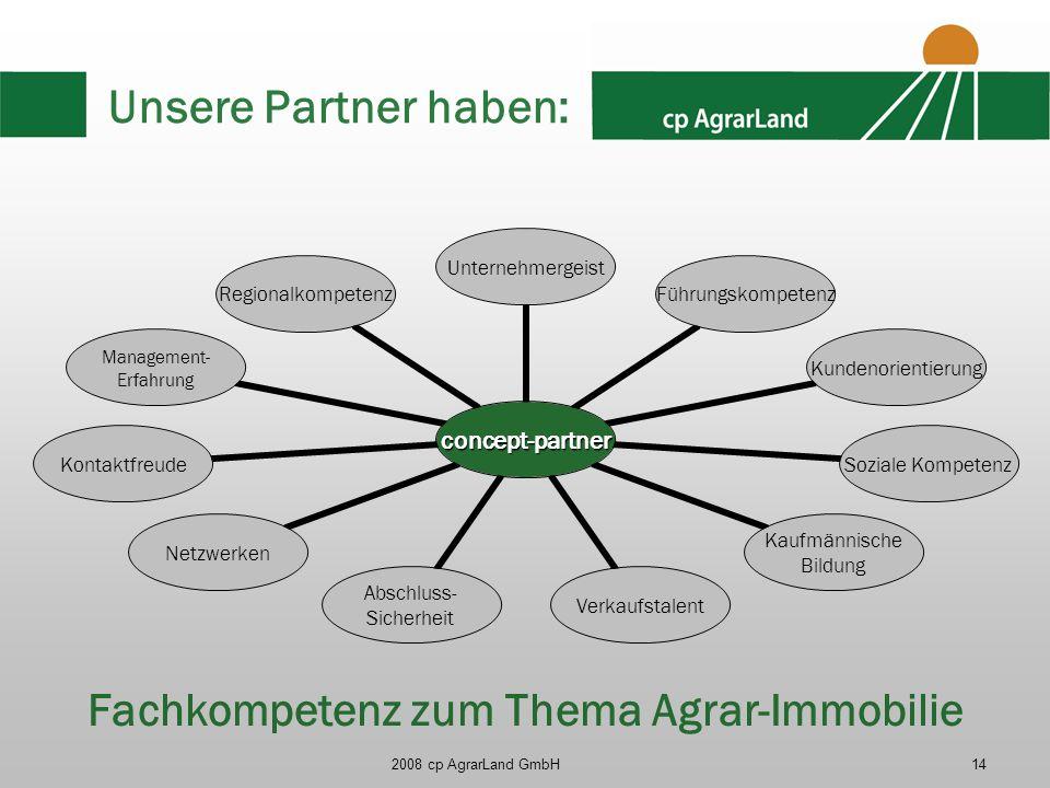 2008 cp AgrarLand GmbH14 Unsere Partner haben: concept- partner Unternehmergei st Führungskompet enz Kundenorientier ung Soziale Kompetenz Kaufmännisc