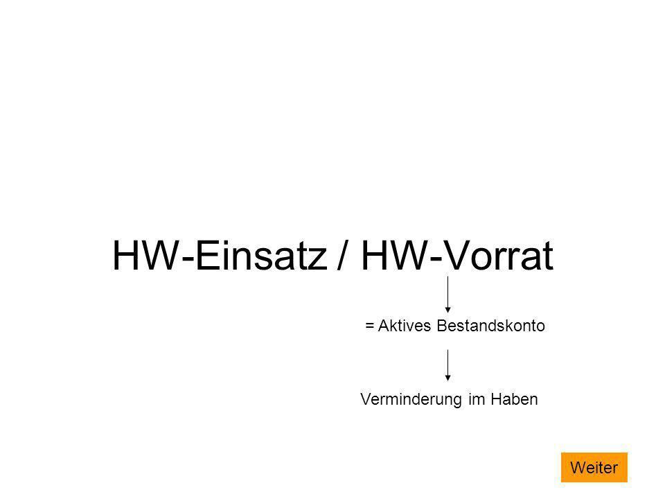 HW-Einsatz / HW-Vorrat = Aktives Bestandskonto Verminderung im Haben