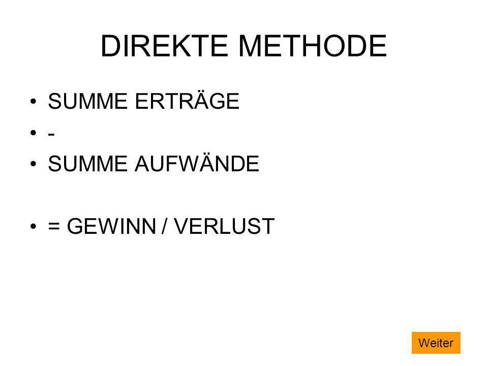 DIREKTE METHODE SUMME ERTRÄGE - SUMME AUFWÄNDE = GEWINN / VERLUST