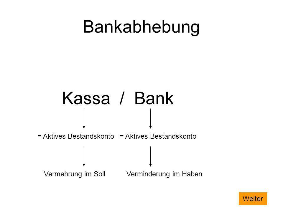Bankabhebung Kassa / Bank = Aktives Bestandskonto= Aktives Bestandskonto Vermehrung im SollVerminderung im Haben