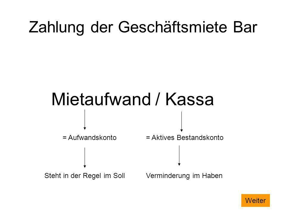Zahlung der Geschäftsmiete Bar Mietaufwand / Kassa = Aufwandskonto= Aktives Bestandskonto Steht in der Regel im SollVerminderung im Haben