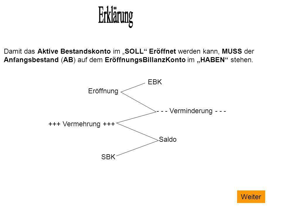 Damit das Aktive Bestandskonto im SOLL Eröffnet werden kann, MUSS der Anfangsbestand (AB) auf dem EröffnungsBillanzKonto im HABEN stehen. EBK Eröffnun