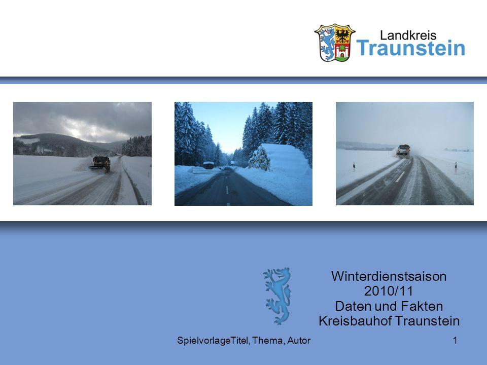 SpielvorlageTitel, Thema, Autor1 Winterdienstsaison 2010/11 Daten und Fakten Kreisbauhof Traunstein