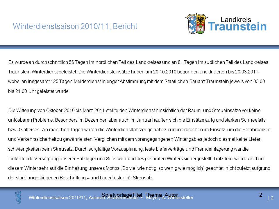| 3 Winterdienstsaison 2010/11; Autoren: Straßenmeister P.