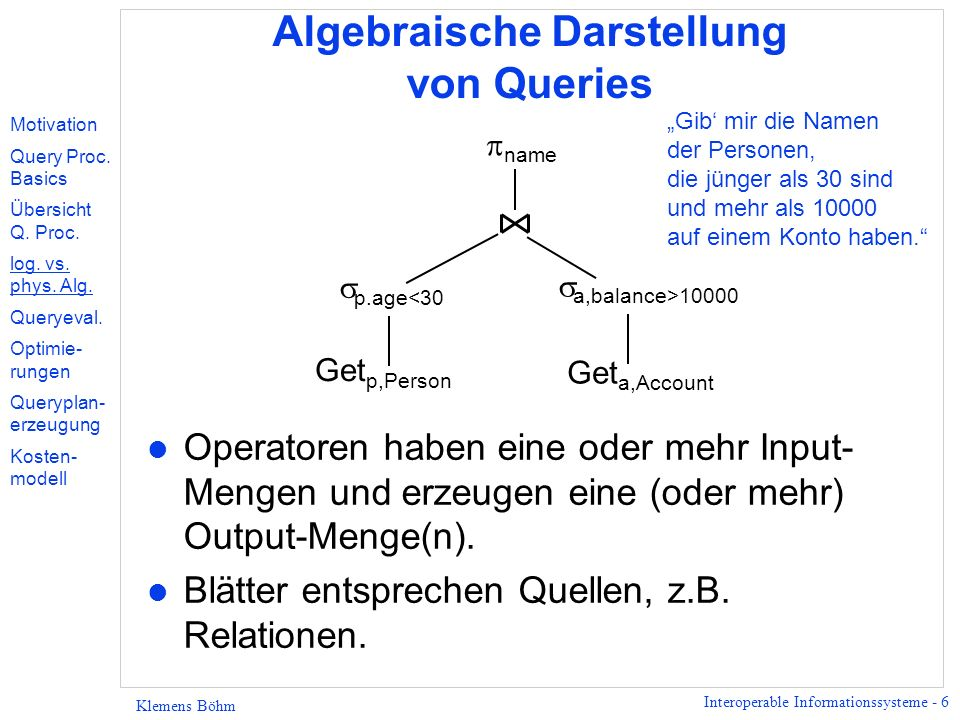 Interoperable Informationssysteme - 6 Klemens Böhm Algebraische Darstellung von Queries l Operatoren haben eine oder mehr Input- Mengen und erzeugen eine (oder mehr) Output-Menge(n).