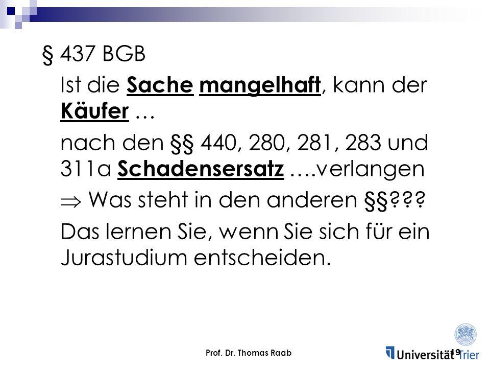 Prof. Dr. Thomas Raab19 § 437 BGB Ist die Sache mangelhaft, kann der Käufer … nach den §§ 440, 280, 281, 283 und 311a Schadensersatz ….verlangen Was s
