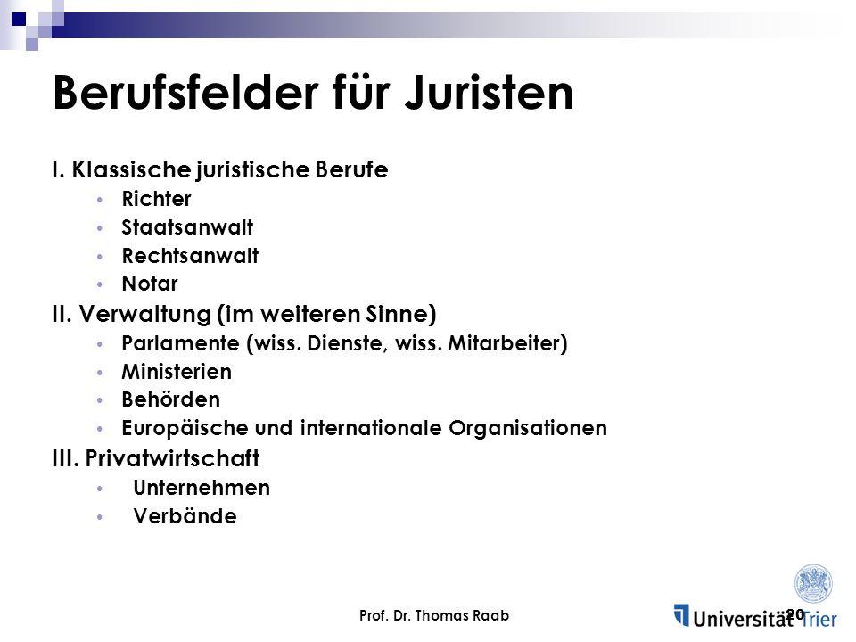 Prof. Dr. Thomas Raab20 Berufsfelder für Juristen I. Klassische juristische Berufe Richter Staatsanwalt Rechtsanwalt Notar II. Verwaltung (im weiteren