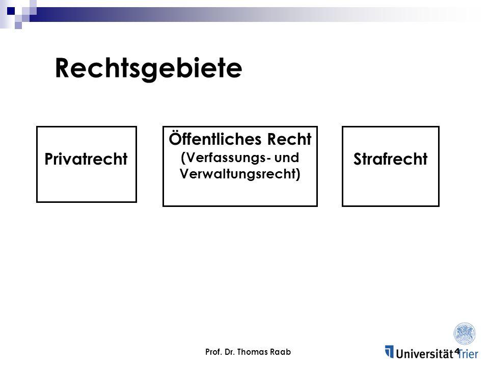 Prof. Dr. Thomas Raab4 Rechtsgebiete Privatrecht Öffentliches Recht (Verfassungs- und Verwaltungsrecht) Strafrecht
