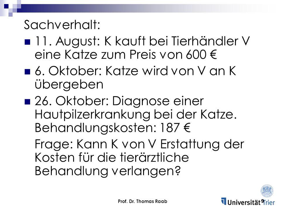 Prof. Dr. Thomas Raab9 Sachverhalt: 11. August: K kauft bei Tierhändler V eine Katze zum Preis von 600 6. Oktober: Katze wird von V an K übergeben 26.