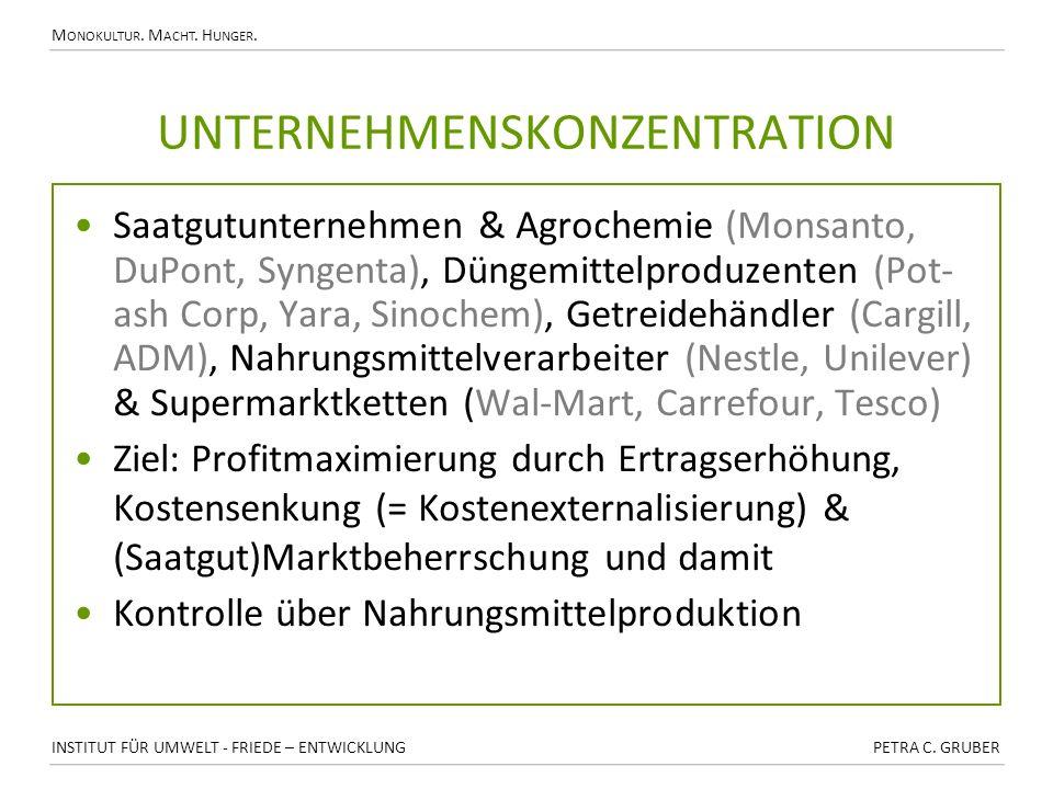 M ONOKULTUR. M ACHT. H UNGER. UNTERNEHMENSKONZENTRATION Saatgutunternehmen & Agrochemie (Monsanto, DuPont, Syngenta), Düngemittelproduzenten (Pot- ash
