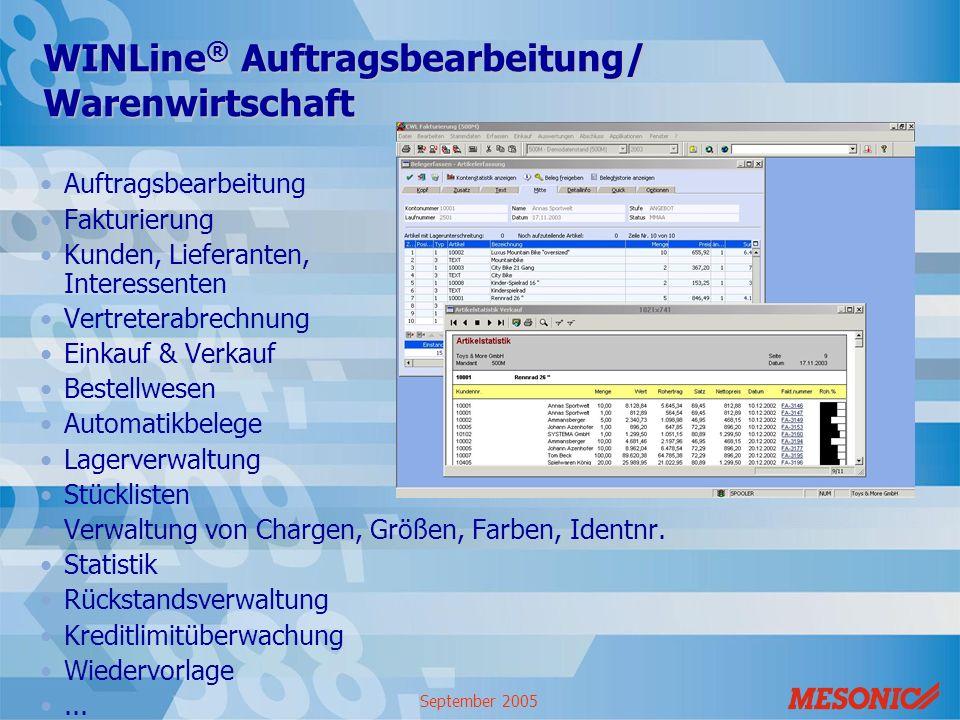 September 2005 WINLine ® Auftragsbearbeitung/ Warenwirtschaft Auftragsbearbeitung Fakturierung Kunden, Lieferanten, Interessenten Vertreterabrechnung