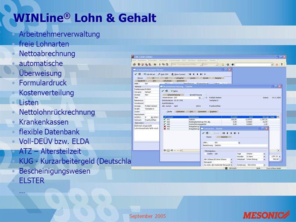 September 2005 WINLine ® Lohn & Gehalt Arbeitnehmerverwaltung freie Lohnarten Nettoabrechnung automatische Überweisung Formulardruck Kostenverteilung