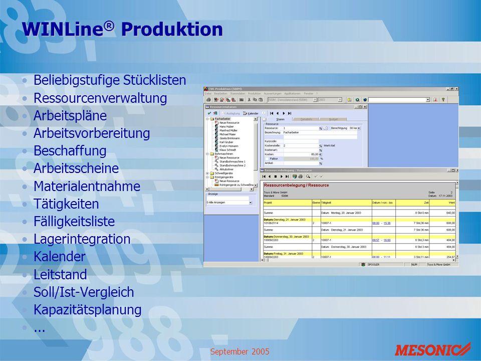 September 2005 WINLine ® Produktion Beliebigstufige Stücklisten Ressourcenverwaltung Arbeitspläne Arbeitsvorbereitung Beschaffung Arbeitsscheine Mater