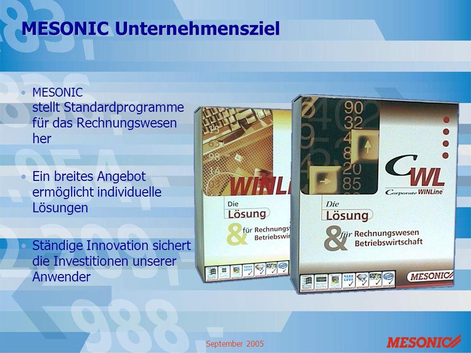 MESONIC Unternehmensziel MESONIC stellt Standardprogramme für das Rechnungswesen her Ein breites Angebot ermöglicht individuelle Lösungen Ständige Inn