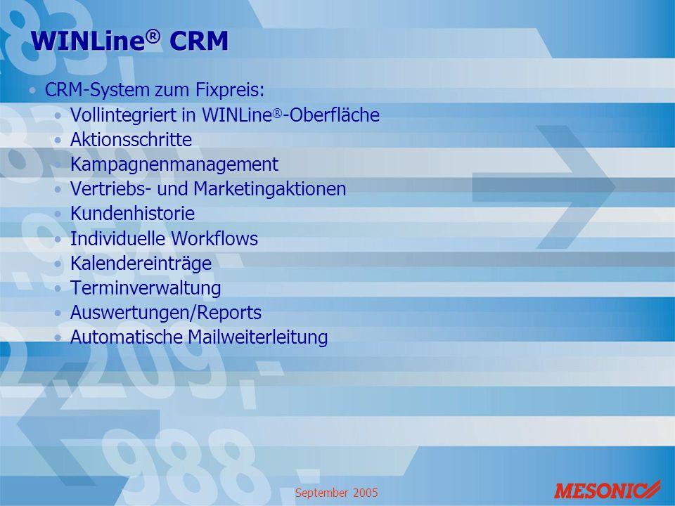 September 2005 WINLine ® CRM CRM-System zum Fixpreis: Vollintegriert in WINLine ® -Oberfläche Aktionsschritte Kampagnenmanagement Vertriebs- und Marke