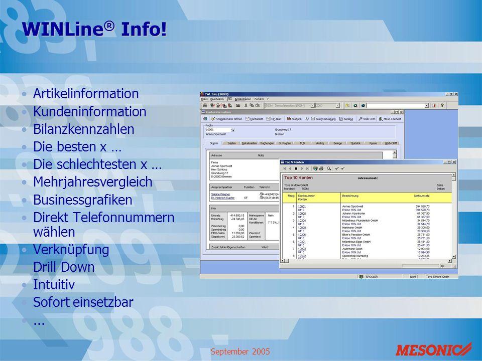 September 2005 WINLine ® Info! Artikelinformation Kundeninformation Bilanzkennzahlen Die besten x … Die schlechtesten x … Mehrjahresvergleich Business