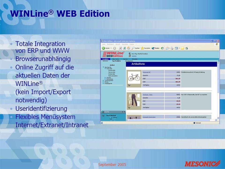 September 2005 WINLine ® WEB Edition Totale Integration von ERP und WWW Browserunabhängig Online Zugriff auf die aktuellen Daten der WINLine ® (kein I