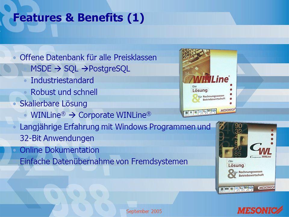September 2005 Features & Benefits (1) Offene Datenbank für alle Preisklassen MSDE SQL PostgreSQL Industriestandard Robust und schnell Skalierbare Lös