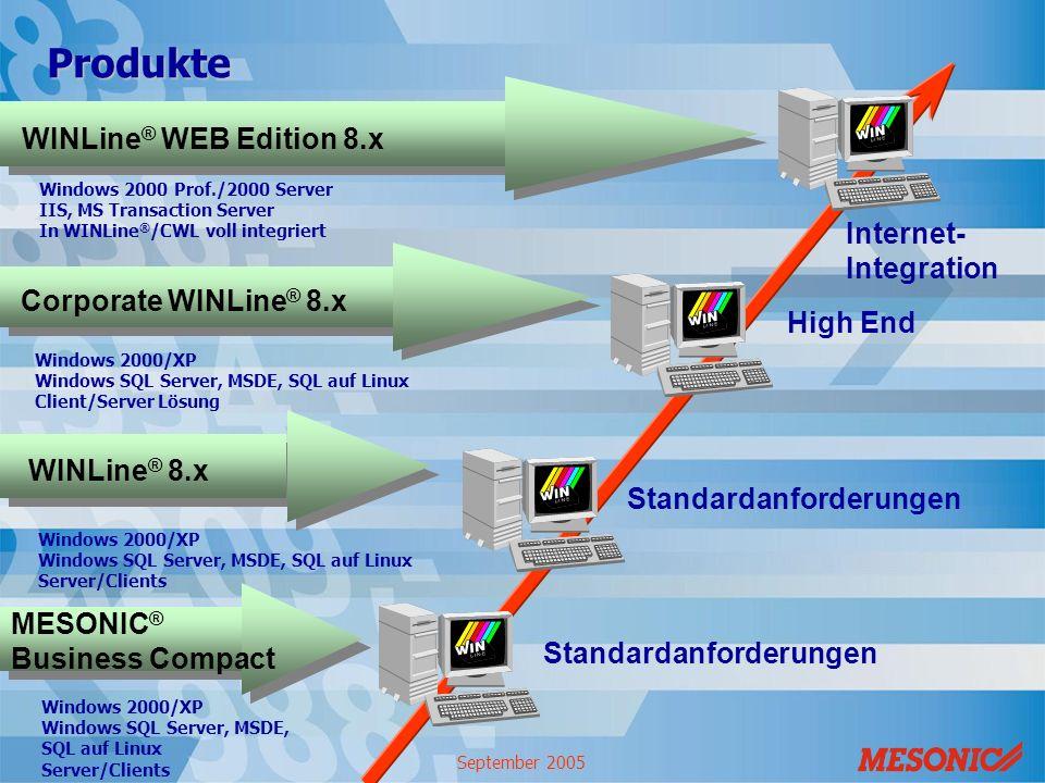 September 2005 WINLine ® 8.x Windows 2000/XP Windows SQL Server, MSDE, SQL auf Linux Client/Server Lösung Corporate WINLine ® 8.x Windows 2000/XP Wind