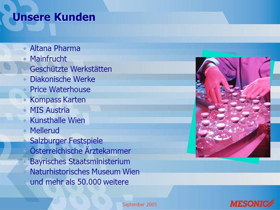 September 2005 Unsere Kunden Altana Pharma Mainfrucht Geschützte Werkstätten Diakonische Werke Price Waterhouse Kompass Karten MIS Austria Kunsthalle