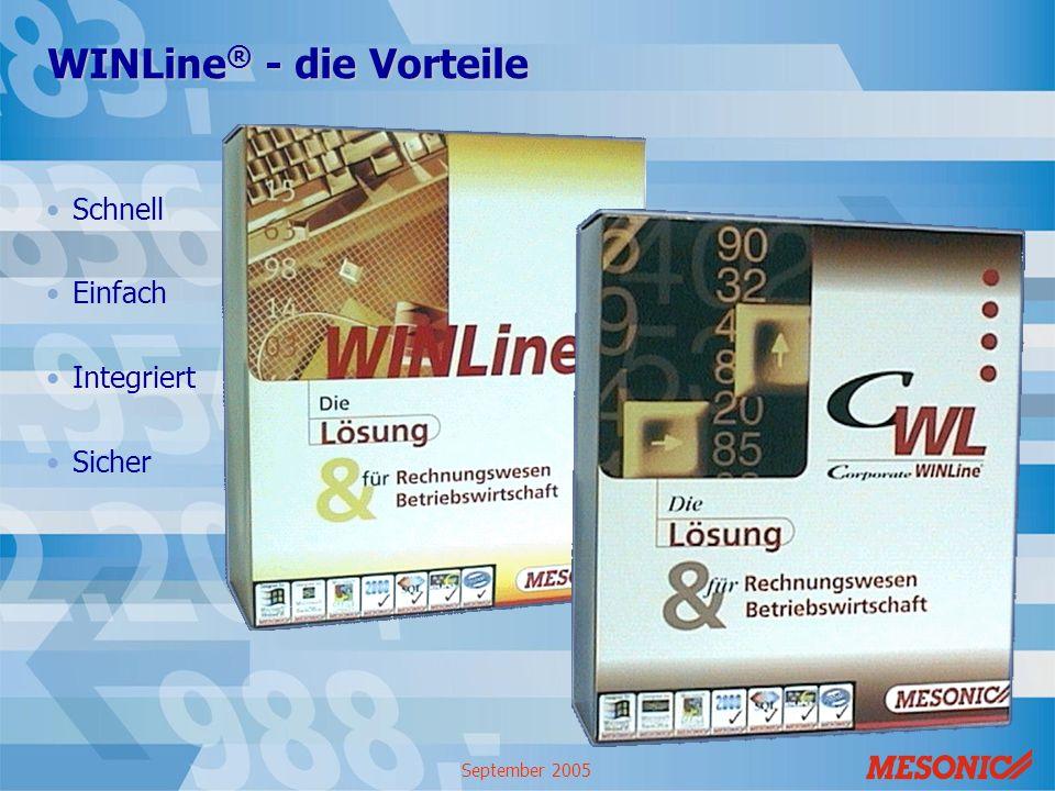September 2005 WINLine ® - die Vorteile Schnell Einfach Integriert Sicher