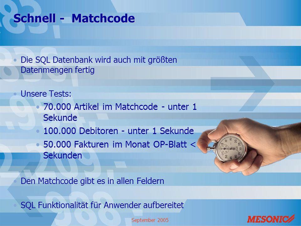 September 2005 Schnell - Matchcode Die SQL Datenbank wird auch mit größten Datenmengen fertig Unsere Tests: 70.000 Artikel im Matchcode - unter 1 Seku