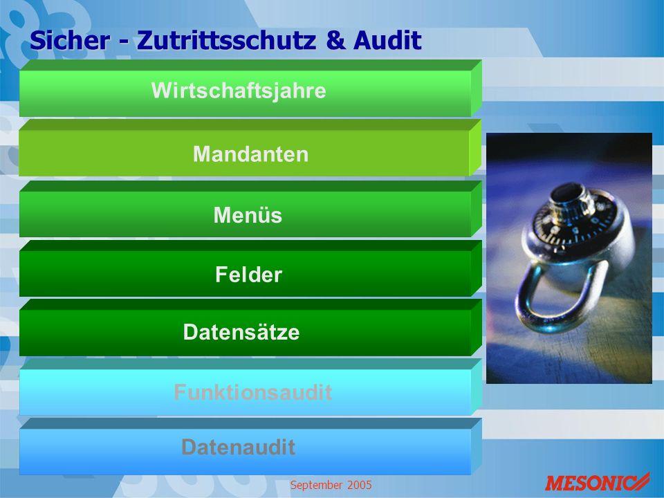 September 2005 MandantenMenüsFelder Sicher - Zutrittsschutz & Audit Datensätze Funktionsaudit Datenaudit Wirtschaftsjahre